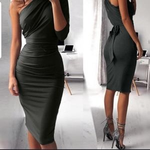 One shoulder pencil dress